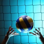 Player bouncing volleyball ball
